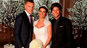 One Direction's Louis Tomlinson (right) attending the weeding of Leicester City and England player Jamie Vardy to Rebekah Nicholson. Picture: Hello!/PA Wire