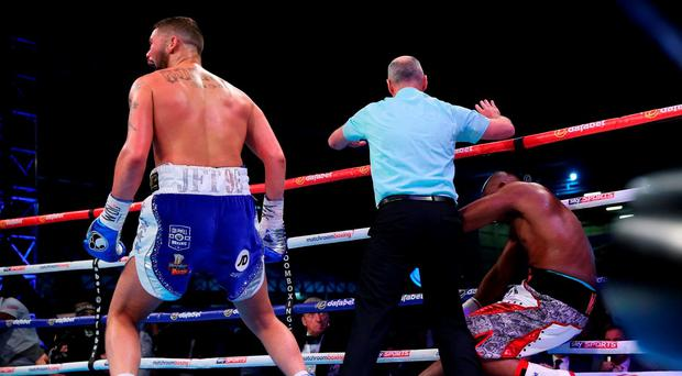 Tony Bellew stops Illunga Makabu in the third round to win the Vacant WBC World Cruiserweight Championship fight between Tony Bellew and Illunga Makabu at Goodison Park on May 29, 2016 in Liverpool, England. (Photo by Alex Livesey/Getty Images)