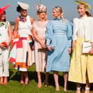 Finalists: Mary Wolfe, Lisa McGowan, Anne McCarthy, Linda Morisson and Winner Sarah Donworth from Limerick at the Spring/Summer Best Dressed Lady at Naas Racecourse. Picture: Michael Donnelly.