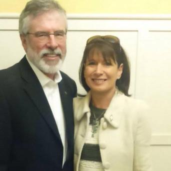 Melissa O'Neill with Gerry Adams