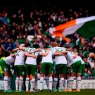 The Republic of Ireland team huddle ahead of the 3 International Friendly between Republic of Ireland and Netherlands in the Aviva Stadium, Lansdowne Road, Dublin. Photo by Sam Barnes/Sportsfile