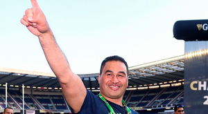 Connacht head coach Pat Lam celebrates following his side's victory in the Guinness PRO12 Final at Murrayfield. Photo: Ramsey Cardy/Sportsfile