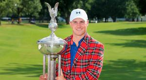 Jordan Spieth with the trophy after winning the Dean & Deluca Invitational at Fort Worth, Texas. Photo: Tom Pennington/Getty Images