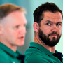 Ireland defence coach Andy Farrell, right, and head coach Joe Schmidt during a press conference in the Aviva Stadium, Lansdowne Road. Photo: Ramsey Cardy/Sportsfile