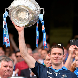 Stephen Cluxton raises the Delaney Cup after another Leinster SFC final victory for Dublin, against Meath in 2014. Photo: Ray McManus / Sportsfile