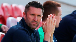 Ireland captain Robbie Keane sits out training in Turner's Cross yesterday as his Euro 2016 hopes hang in the balance Photo: Brian Lawless/PA Wire