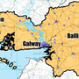 GALWAY: (Blue) Covered by commercial operators by end 2016; (Yellow) Covered by the National Broadband Plan