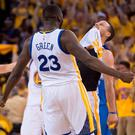Golden State Warriors guard Stephen Curry (30, right) celebrates with forward Draymond Green (23) during the fourth quarter in game seven of the Western conference finals of the NBA Playoffs against the Oklahoma City Thunder at Oracle Arena. The Warriors defeated the Thunder 96-88. Mandatory Credit: Kyle Terada-USA TODAY Sports