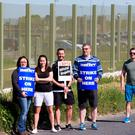 Staff at Oberstown youth detention centre who began a series of work stoppages today. Photo: Mark Condren