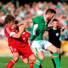 Republic of Ireland's Daryl Murphy (right) and Belarus' Alyaksandr Martynovich battle for the ball during the International Friendly match at the Aviva Stadium, Dublin