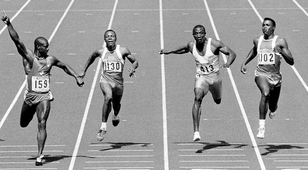 Ben Johnson (left) crosses the finishing line first in the men's 100m final at the Seoul Olympics in 1988, ahead of Carl Lewis (far right), Linford Christie (second right) and Calvin Smith, who was never linked to any doping controversy. Photo: Getty
