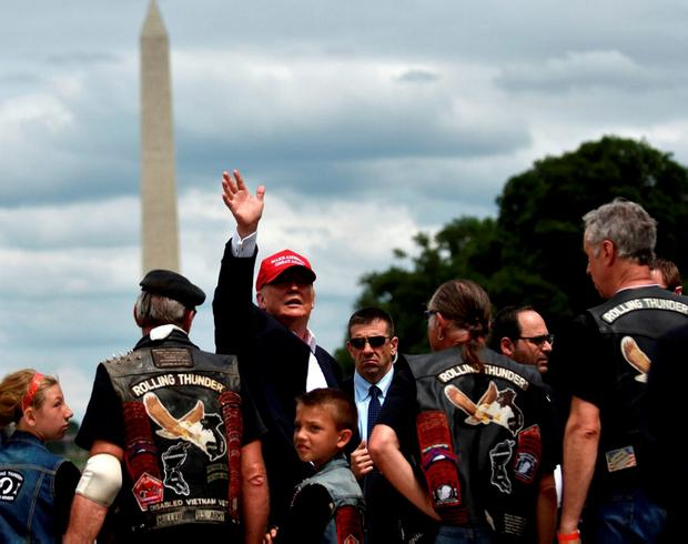 Republican US presidential candidate Donald Trump addresses motorcyclists participating in the Rolling Thunder rally in Washington. Photo: Reuters