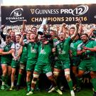 Connacht players celebrate following their side's victory in the Guinness PRO12 Final match. Photo: Sportsfile