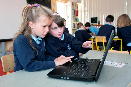 Pupils Erika Lee and Aishling McCarthy working on the computer in Banogue National School, Croom, Co Limerick. Photo: Brian Gavin