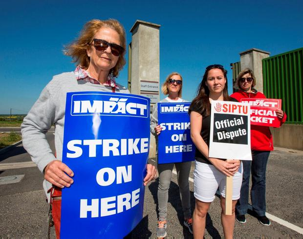 Union members on the picket line outside Oberstown. Photo: Mark Condren