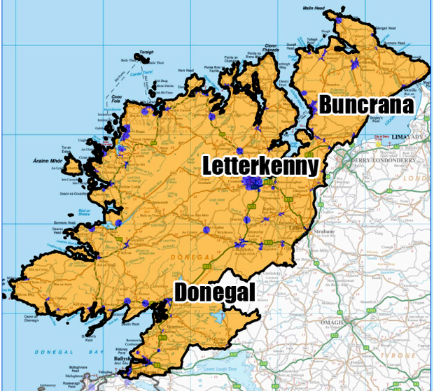 DONEGAL: (Blue) Covered by commercial operators by end 2016; (Yellow) Covered by the National Broadband Plan