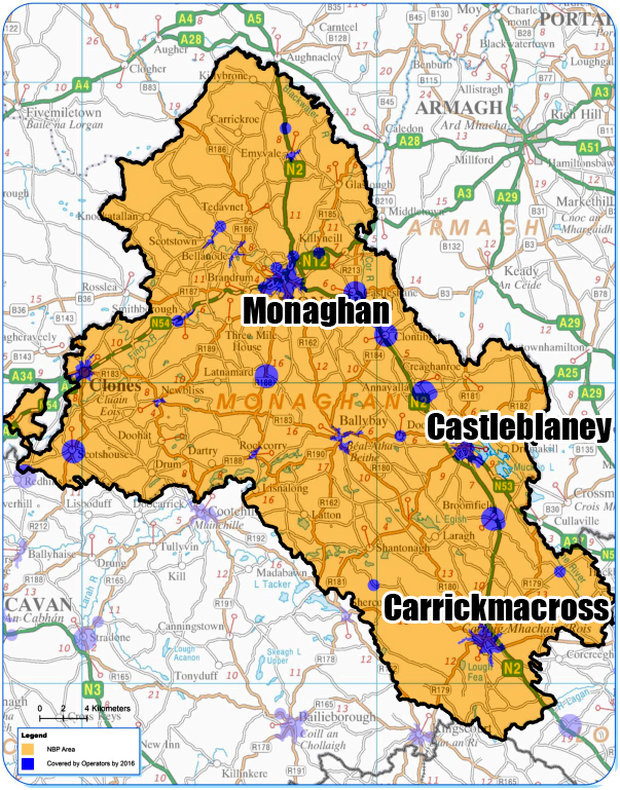 MONAGHAN: (Blue) Covered by commercial operators by end 2016; (Yellow) Covered by the National Broadband Plan