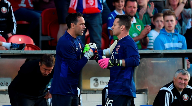Shay Given, right, is replaced by team-mate David Forde Photo by Brendan Moran/Sportsfile