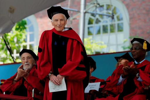 Cosmologist and astrophysicist Martin Rees stands to receive an honorary Doctor of Science degree during the 365th Commencement Exercises at Harvard University in Cambridge, Massachusetts. Photo: Reuters