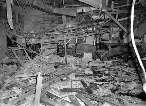 The wreckage left at the Mulberry Bush pub in Birmingham after a bomb exploded, as a coroner is set to rule on whether to open new inquests for the 21 victims of the Birmingham pub bombings after years of campaigning by relatives Credit: PA Wire