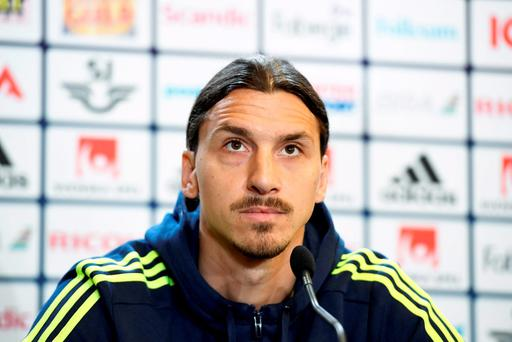 Sweden's forward and team captain Zlatan Ibrahimovic attends a press conference in Bastad, Sweden today