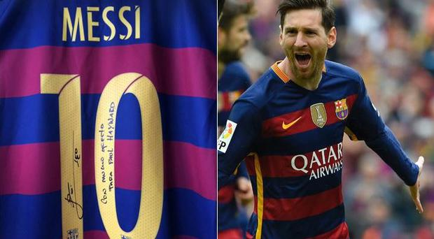Lionel Messi sent a signed shirt to Paul Hayward