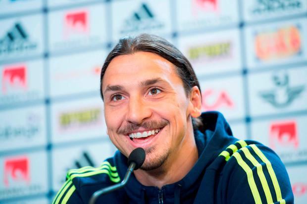 Sweden's forward and team captain Zlatan Ibrahimovic attends a press conference in Bastad, Sweden