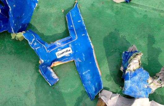 Recovered debris of the EgyptAir jet that crashed in the Mediterranean Sea is seen in this handout image released May 21, 2016 by Egypt's military