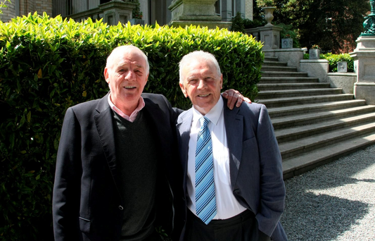 L to r: Eamon Dunphy and John Giles at the launch of RTÉ's Euro 2016 coverage. Pics : Mark Doyle 087-2837342, Dublin, Ireland.