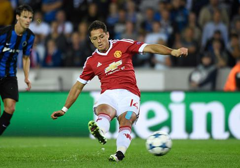Javier Hernandez forward of Manchester United mist a penalty kick during the UEFA Champions League Qualifying Play-Offs second leg match between Club Brugge and Manchester United at the Jan Breydel Stadium in Brugge, Belgium. (Photo by William Van Hecke/Corbis via Getty Images)