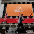Signage for Alibaba Group Holding Ltd. covers the front facade of the New York Stock Exchange. Photo: Reuters