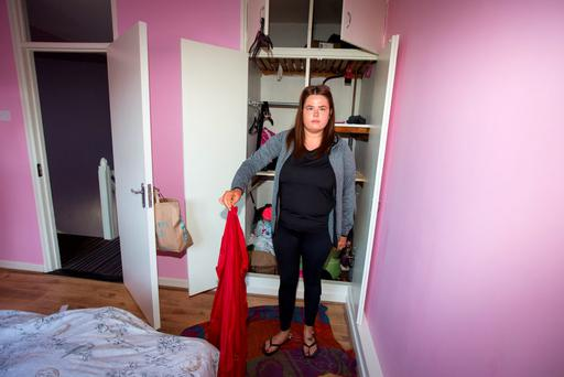 Jessica Lennon at the Basin Street flats which got flooded. Pic:Mark Condren
