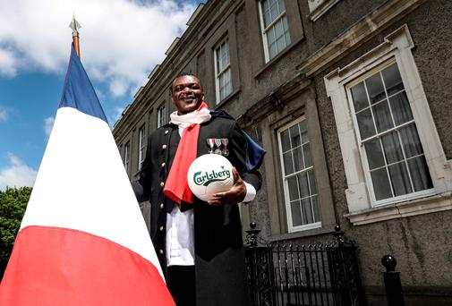 Carlsberg ambassador Marcel Desailly was supporting the 'do it better for the fans' campaign which will see over 1,500 Irish fans attend the Euros. Photo: ©INPHO/Dan Sheridan