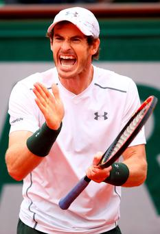 Andy Murray gets fired up as he battles back to beat Richard Gasquet during yesterday's French Open quarter-final (Getty Images)