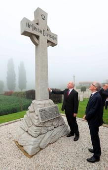 Deputy First Minister Martin McGuinness visiting the Island of Ireland Peace Park in Belgium yesterday, with Geert Bourgeois, Minister-President of Flanders Photo: Lieven Van Assche/PA