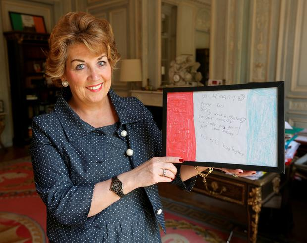 Geraldine Byrne Nason, Ambassador to France holds a letter of support to the French people after the terrorist attacks in Paris. Picture: Damien Eagers