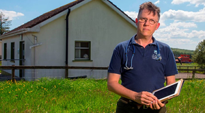 Dr David Janes, of Fourmilewater Health Centre, Co Waterford, pictured at Seskinane surgery, which he was forced to close due to the lack of broadband to access patients' records Photo: Patrick Browne