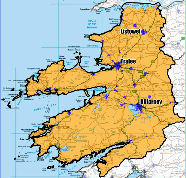 KERRY: (Blue) Covered by commercial operators by end 2016; (Yellow) Covered by the National Broadband Plan