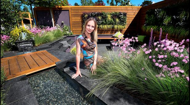 Pictured at Bloom in the Phoenix Park which runs until Monday 6th June was 21 year old Sofi Dosa , the youngest ever garden designer at her 'Blurred Lines' Garden. Pic Steve Humphreys