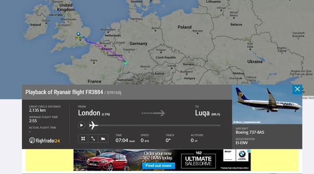 Flight path of Ryanair flight FR3884 bound for Malta from Luton, London (Photo: FlightRadar)