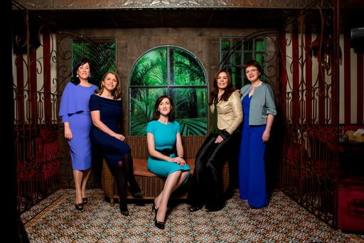 The panel: From left to right: Anne Heraty (55) from Longford, co-founder and CEO of recruitment company CPL Resources. Tanya Day-Whitten (44) from Dublin, senior director of global regulatory affairs at Oriflame Cosmetics. Caroline Keeling (46) from Dublin, group CEO at Keelings foods. Nicola Byrne (45) from Dublin, founder and CEO of directory enquiries service 11890 and CEO of Cloud90. Margot Slattery (48) from Limerick, CEO/country president of facilities management company Sodexo Ireland. Photo: Kip Carroll.