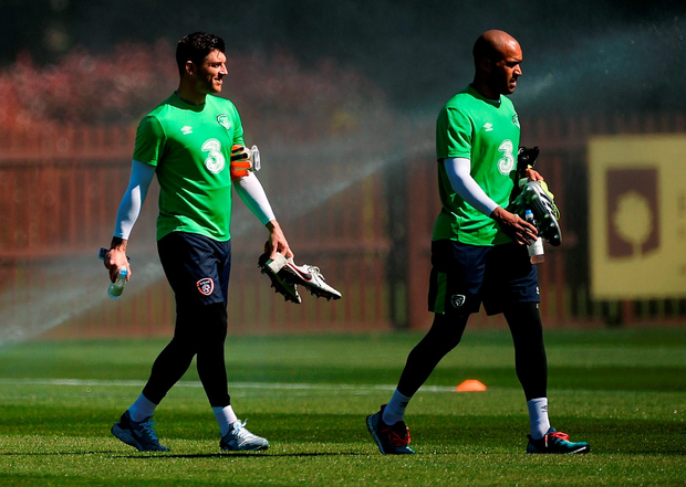 Ireland goalkeepers Keiren Westwood (left) and Darren Randolph at squad training. Pic: Sportsfile