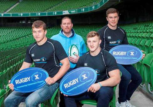 10052016 NO REPRO FEE. The Rugby Generation X conference takes place in the Aviva Stadium on Saturday August 27th 2016. This is the first event of its kind to be held in Ireland and will be attended by over 700 delegates. Pictured at the launch today in the Aviva Stadium were Rugby players Ross Moloney, Leinster, (left) Peter Robb, Connacht and Luke McGrath, (right) Leinster with Tom McGee (second left) from Liberty Saints RFC, the Charity beneficiary of the event.