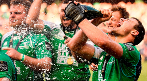 Robbie Henshaw gets the champagne flowing after Connacht won last season's Pro12. Photo: Stephen McCarthy/Sportsfile