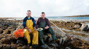 Diarmuid and Micheal Kelly from Kelly's Oyster Farm, Galway (Picture : Andrew Downes)
