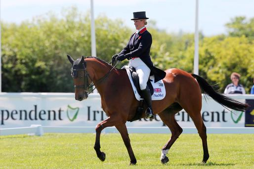 Zara Tindall on Watkins during the dressage phase at the Tattersalls International Trials which continue until Sunday. Photo: Lorraine O'Sullivan