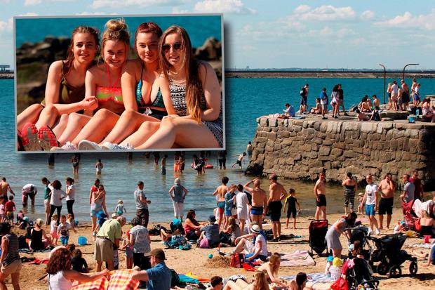 Alannah Dunster,Nicole Redmond,Alisha White and Kayleigh Perry enjoying the good weather at Forty foot, Sandycove ,Dublin Pic Stephen Collins/Collins Photos