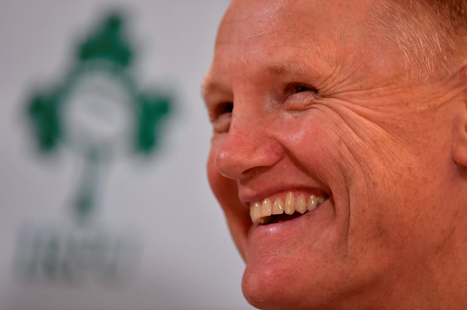 Despite the injury withdrawals, Joe Schmidt still had something to smile about at yesterday's pre-Tour press conference. Photo: Brendan Moran/Sportsfile