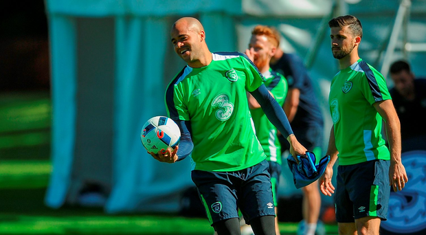 Darren Randolph goes through his paces during training in Cork. Photo: Eóin Noonan/Sportsfile