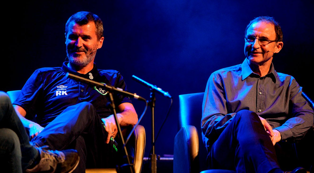 Republic of Ireland manager Martin O'Neill and assistant manager Roy Keane on stage with Today FM presenter Matt Cooper during a night of entertainment at the Cork Opera House. Photo: David Maher/Sportsfile